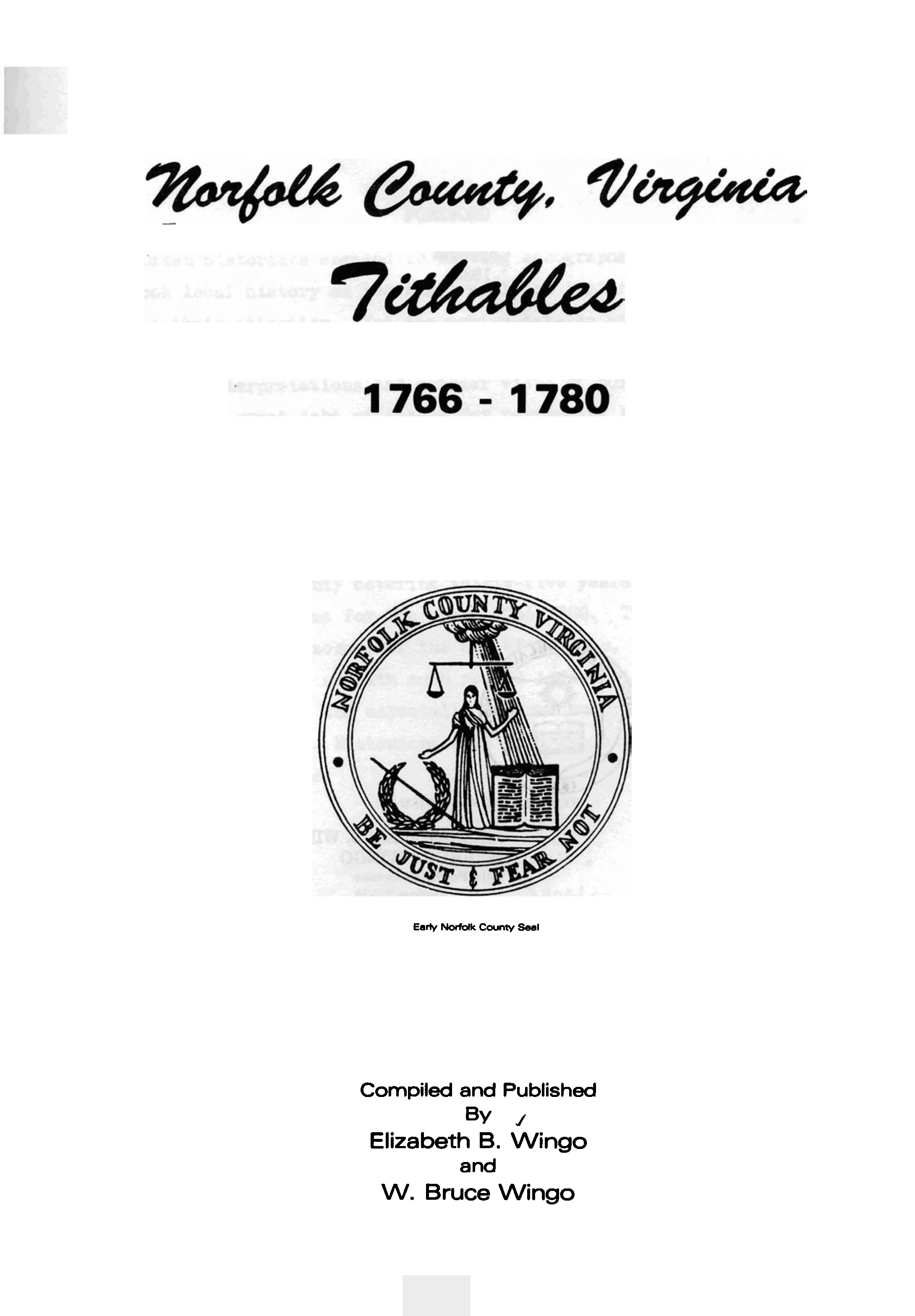 Norfolk County Virginia Tithables, Volume 3, 1766 - 1780