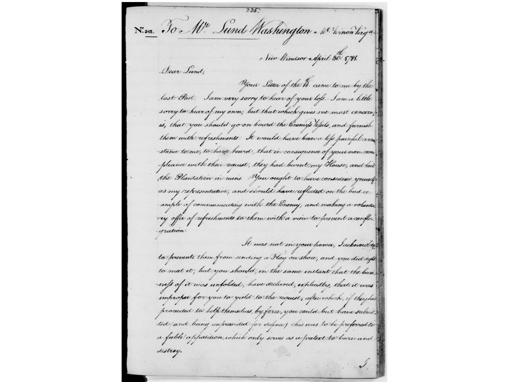 General Washington letter to Lund Washington